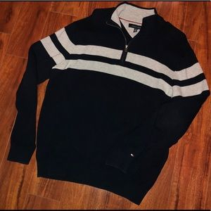 Tommy Hilfiger Striped 1/2 Zip Sweater•Size Large